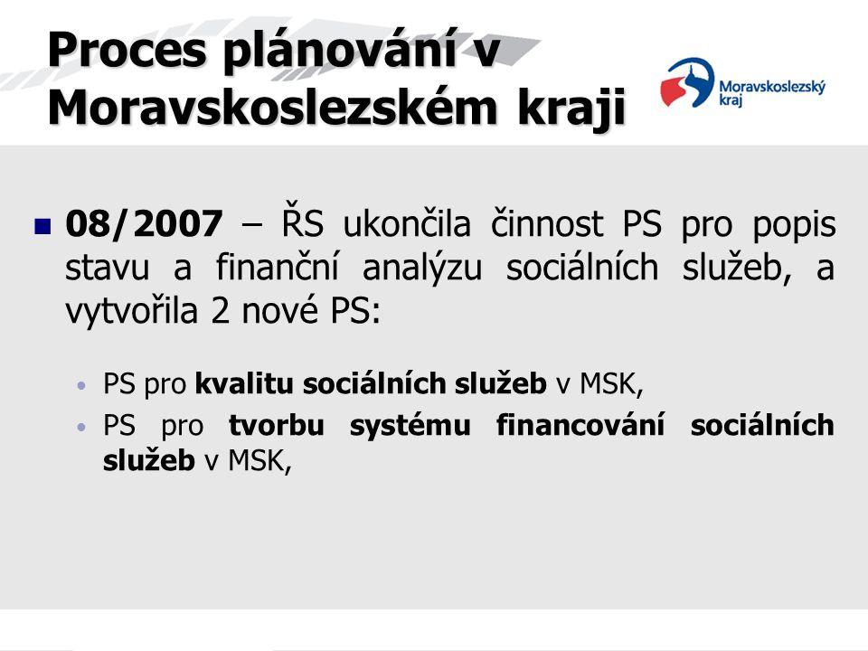 08/2007 – ŘS ukončila činnost PS pro popis stavu a finanční analýzu sociálních služeb, a vytvořila 2 nové PS: PS pro kvalitu sociálních služeb v MSK,