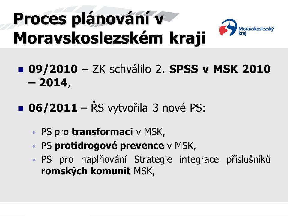 09/2010 – ZK schválilo 2. SPSS v MSK 2010 – 2014, 06/2011 – ŘS vytvořila 3 nové PS: PS pro transformaci v MSK, PS protidrogové prevence v MSK, PS pro