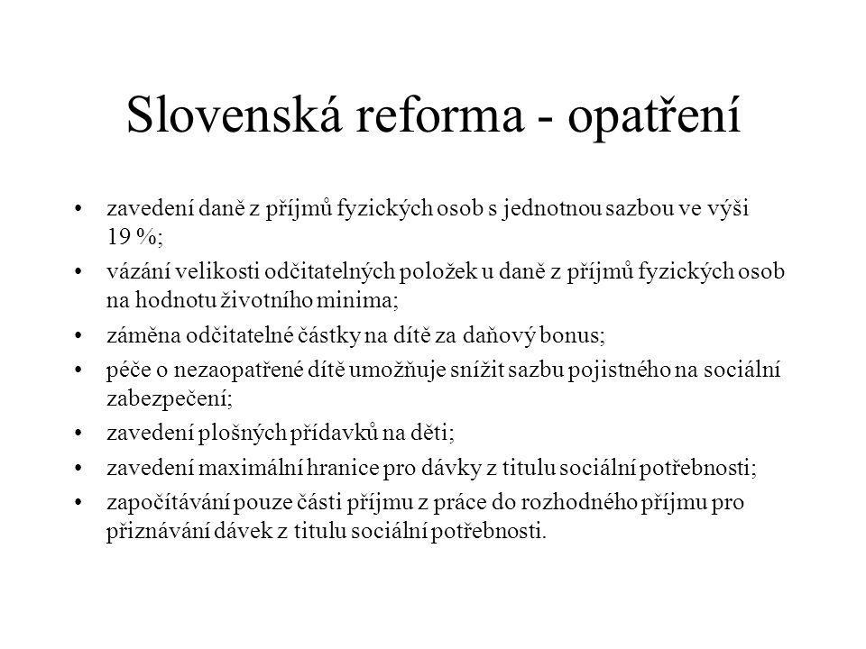 Slovenská reforma - opatření zavedení daně z příjmů fyzických osob s jednotnou sazbou ve výši 19 %; vázání velikosti odčitatelných položek u daně z příjmů fyzických osob na hodnotu životního minima; záměna odčitatelné částky na dítě za daňový bonus; péče o nezaopatřené dítě umožňuje snížit sazbu pojistného na sociální zabezpečení; zavedení plošných přídavků na děti; zavedení maximální hranice pro dávky z titulu sociální potřebnosti; započítávání pouze části příjmu z práce do rozhodného příjmu pro přiznávání dávek z titulu sociální potřebnosti.