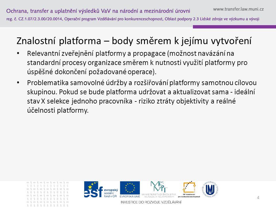 Znalostní platforma – body směrem k jejímu vytvoření Relevantní zveřejnění platformy a propagace (možnost navázání na standardní procesy organizace směrem k nutnosti využití platformy pro úspěšné dokončení požadované operace).