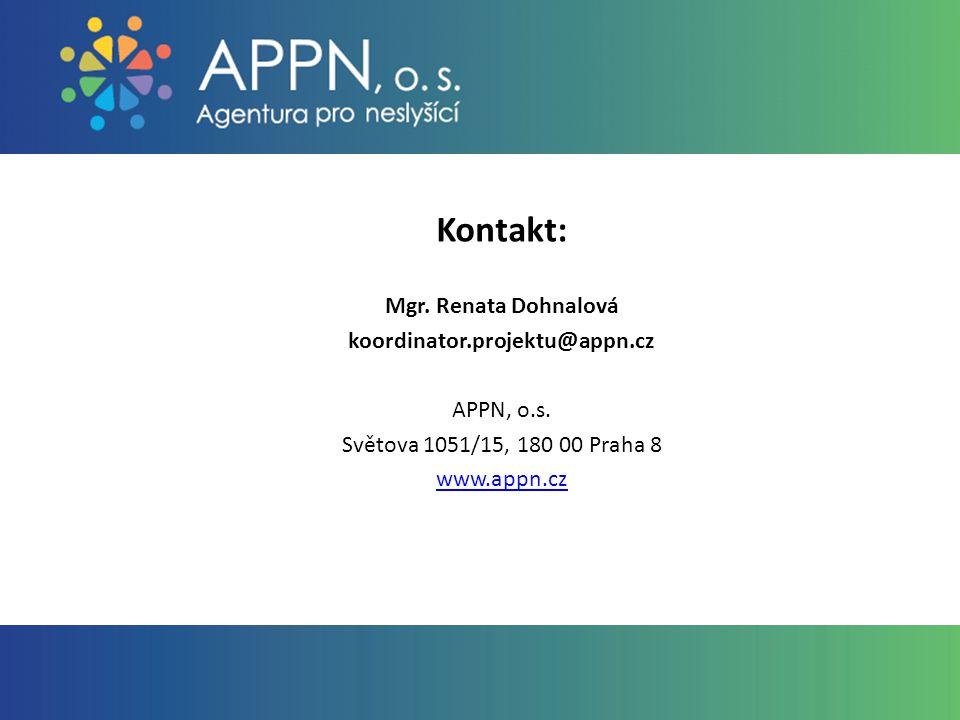Kontakt: Mgr. Renata Dohnalová koordinator.projektu@appn.cz APPN, o.s.