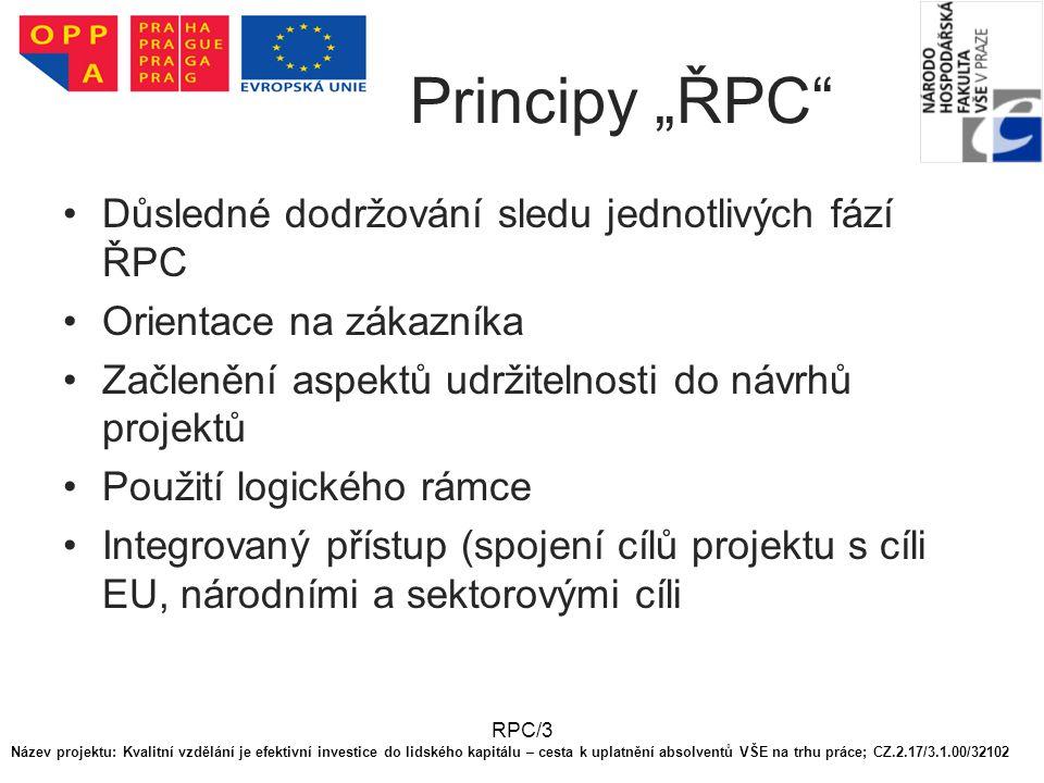 """RPC/3 Principy """"ŘPC"""" Důsledné dodržování sledu jednotlivých fází ŘPC Orientace na zákazníka Začlenění aspektů udržitelnosti do návrhů projektů Použití"""