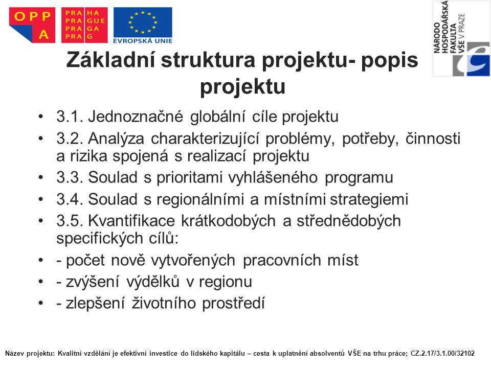 Základní struktura projektu- popis projektu 3.1. Jednoznačné globální cíle projektu 3.2. Analýza charakterizující problémy, potřeby, činnosti a rizika