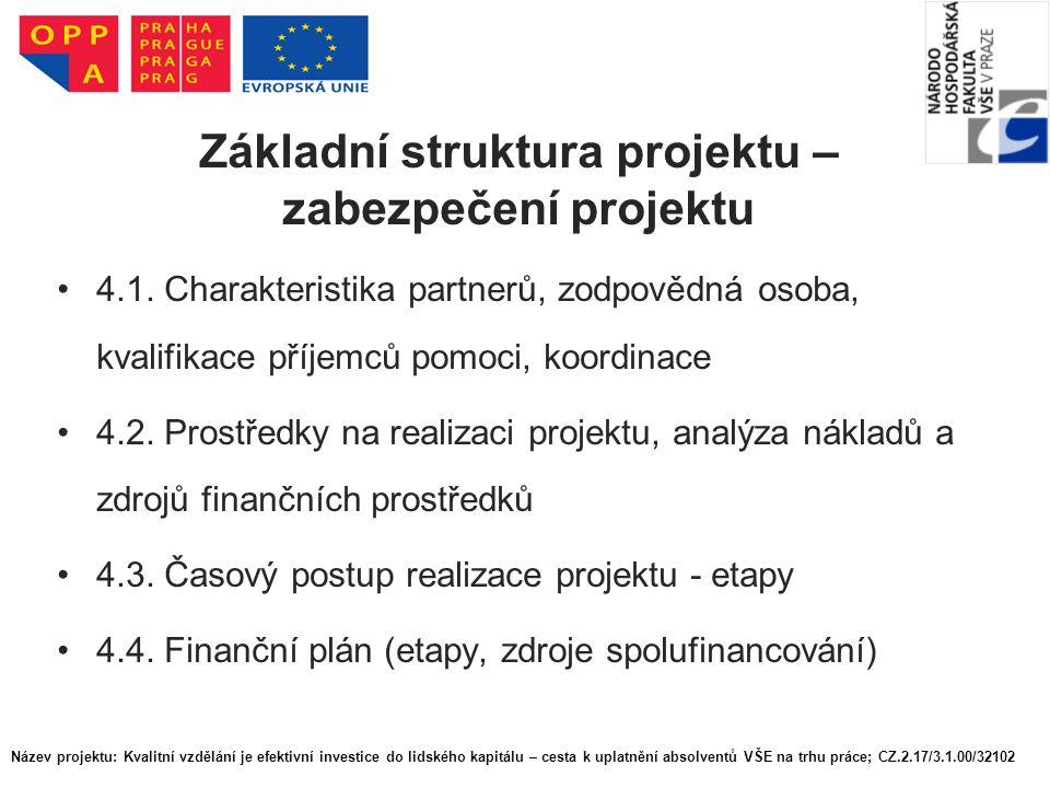 Základní struktura projektu – zabezpečení projektu 4.1. Charakteristika partnerů, zodpovědná osoba, kvalifikace příjemců pomoci, koordinace 4.2. Prost