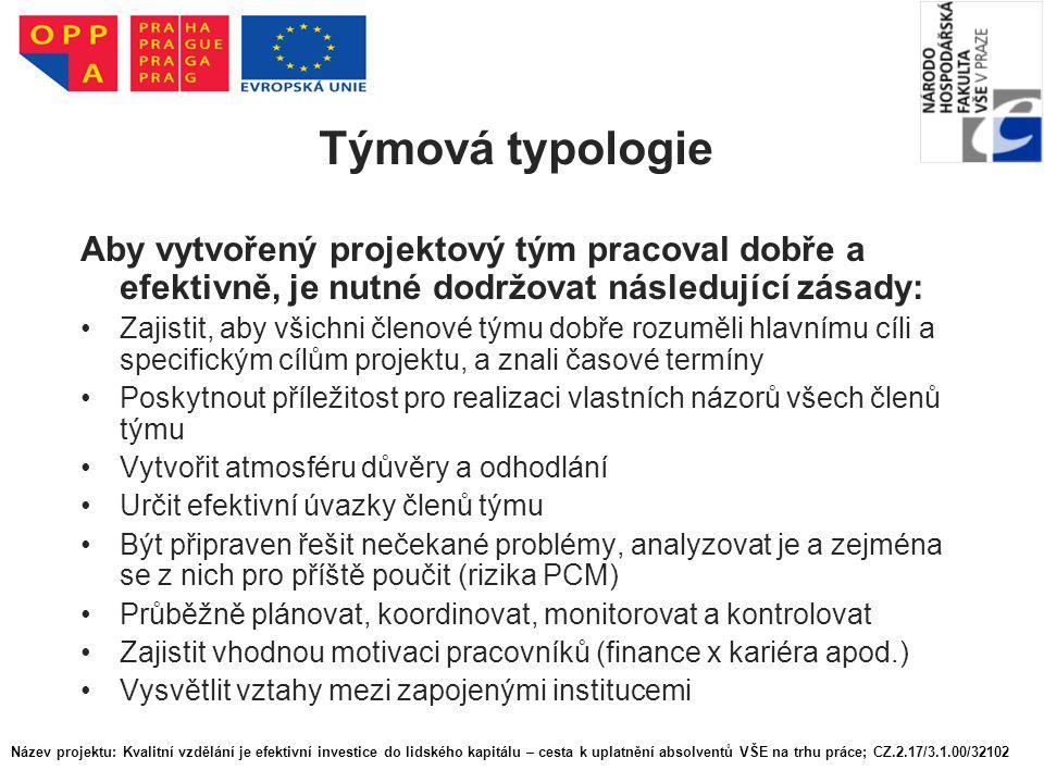 Týmová typologie Aby vytvořený projektový tým pracoval dobře a efektivně, je nutné dodržovat následující zásady: Zajistit, aby všichni členové týmu do