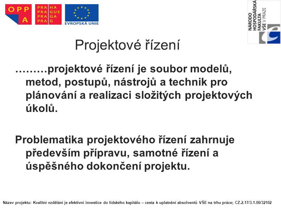 Řízení projektového cyklu Název projektu: Kvalitní vzdělání je efektivní investice do lidského kapitálu – cesta k uplatnění absolventů VŠE na trhu práce; CZ.2.17/3.1.00/32102