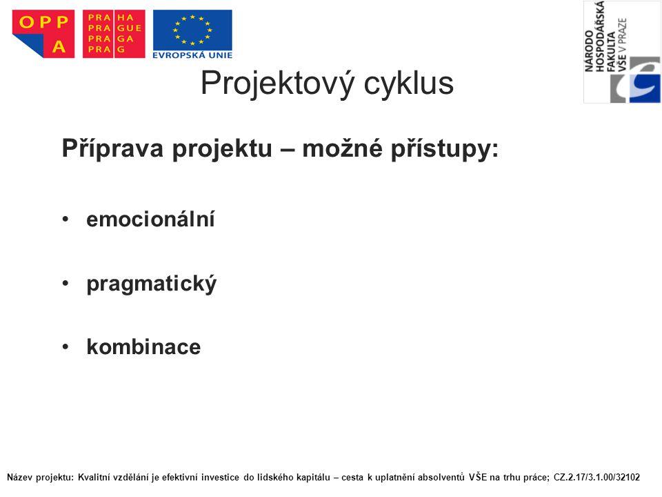 Projektový cyklus Příprava projektu – možné přístupy: emocionální pragmatický kombinace Název projektu: Kvalitní vzdělání je efektivní investice do li