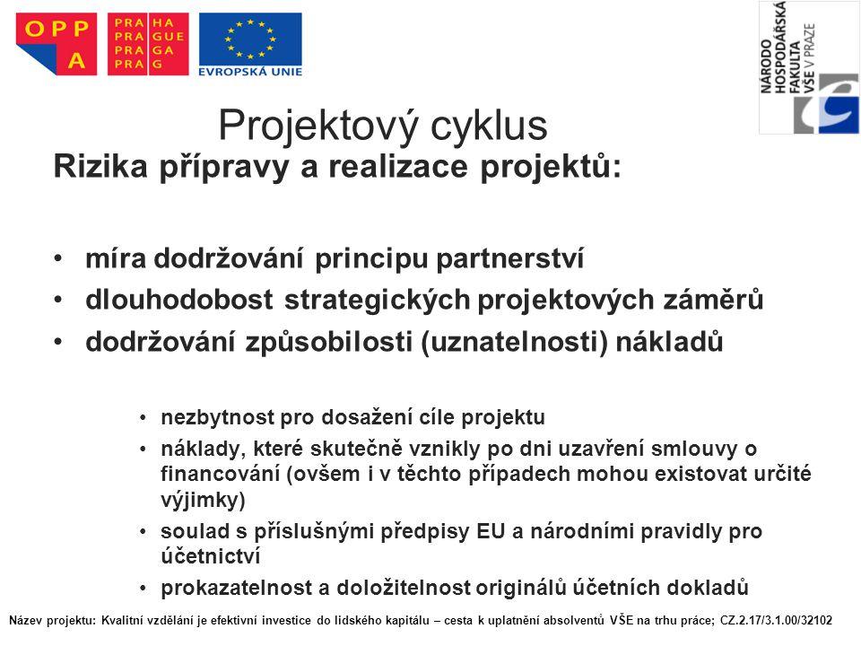 Projektový cyklus Koordinace projektu - subjekty: předkladatel projektu partner subdodavatel Projektový tým X role projektového manažera X zadavatel Název projektu: Kvalitní vzdělání je efektivní investice do lidského kapitálu – cesta k uplatnění absolventů VŠE na trhu práce; CZ.2.17/3.1.00/32102