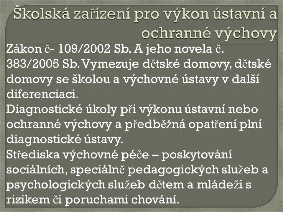 Zákon č - 109/2002 Sb. A jeho novela č. 383/2005 Sb.