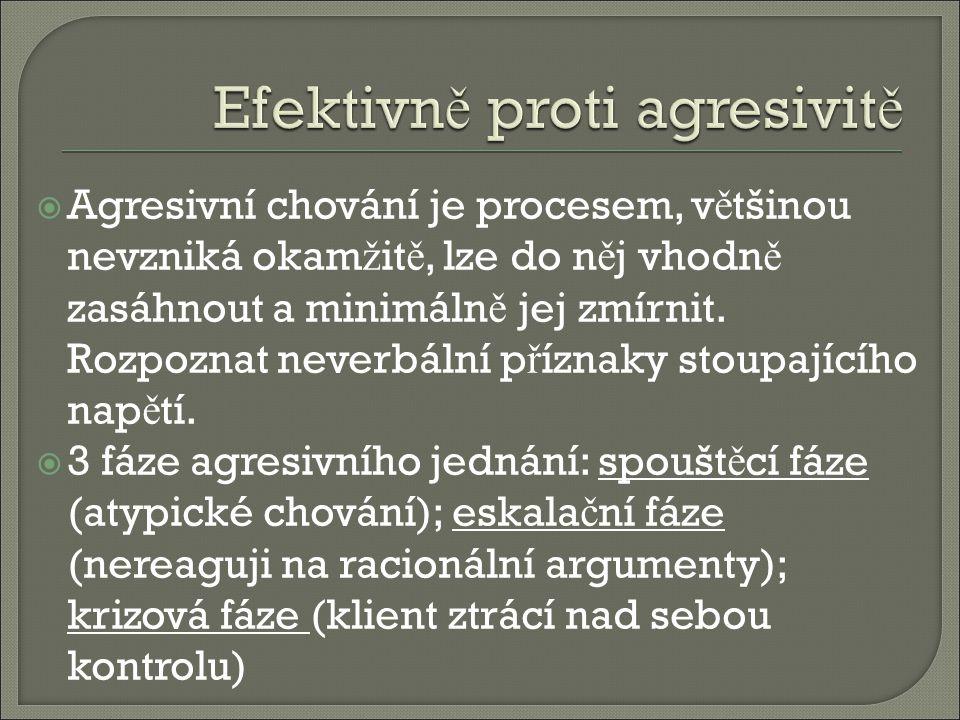  Agresivní chování je procesem, v ě tšinou nevzniká okam ž it ě, lze do n ě j vhodn ě zasáhnout a minimáln ě jej zmírnit.