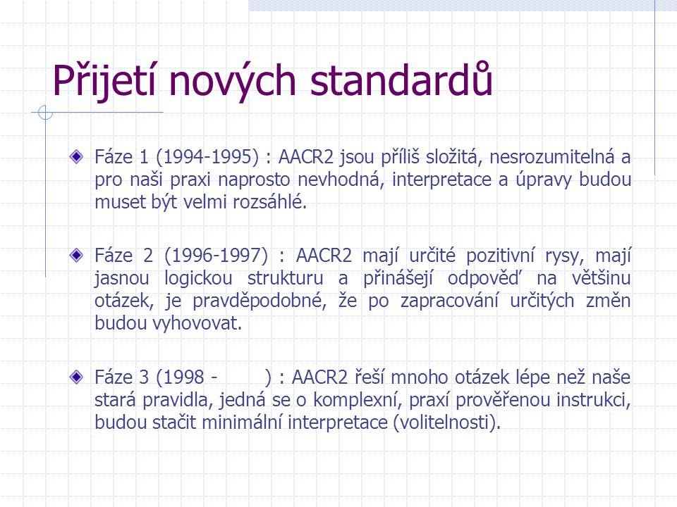 Přijetí nových standardů Fáze 1 (1994-1995) : AACR2 jsou příliš složitá, nesrozumitelná a pro naši praxi naprosto nevhodná, interpretace a úpravy budou muset být velmi rozsáhlé.