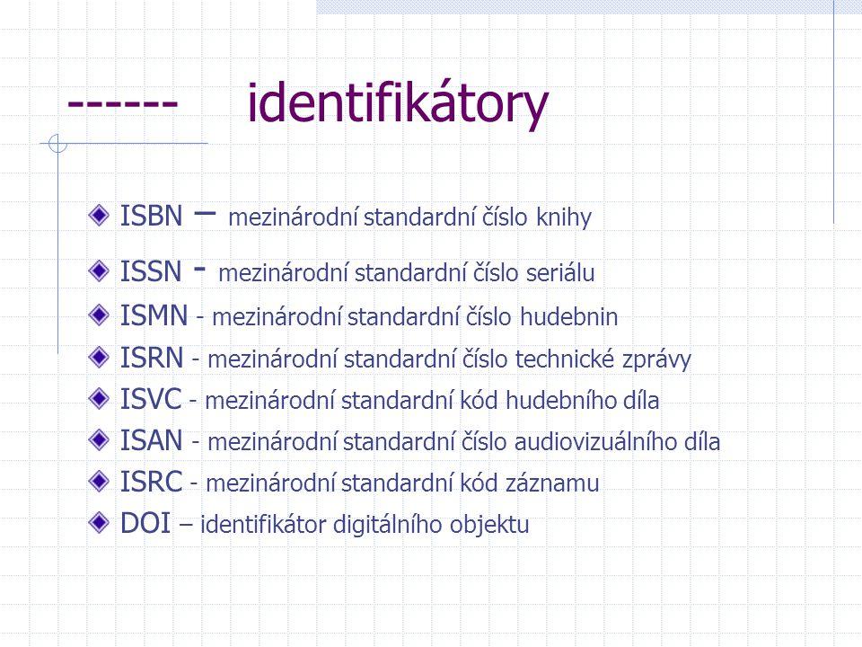 ------ identifikátory ISBN – mezinárodní standardní číslo knihy ISSN - mezinárodní standardní číslo seriálu ISMN - mezinárodní standardní číslo hudebnin ISRN - mezinárodní standardní číslo technické zprávy ISVC - mezinárodní standardní kód hudebního díla ISAN - mezinárodní standardní číslo audiovizuálního díla ISRC - mezinárodní standardní kód záznamu DOI – identifikátor digitálního objektu