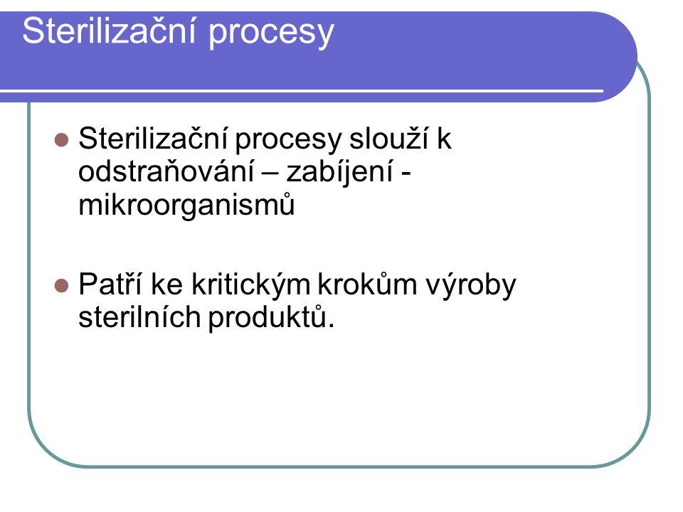Sterilizační procesy Sterilizační procesy slouží k odstraňování – zabíjení - mikroorganismů Patří ke kritickým krokům výroby sterilních produktů.