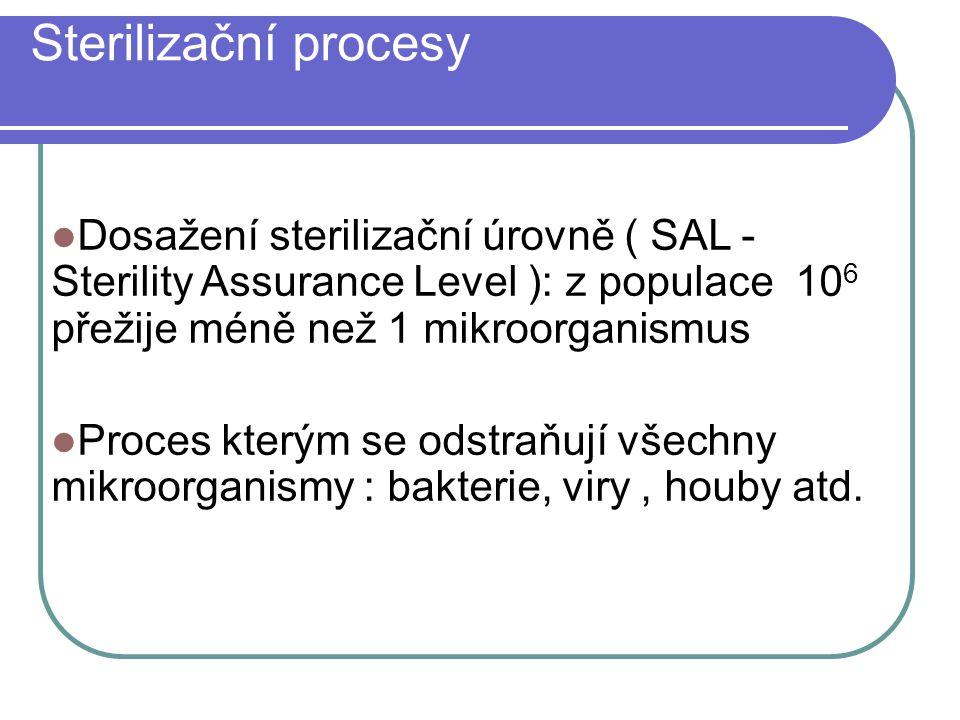 Sterilizační procesy Dosažení sterilizační úrovně ( SAL - Sterility Assurance Level ): z populace 10 6 přežije méně než 1 mikroorganismus Proces který