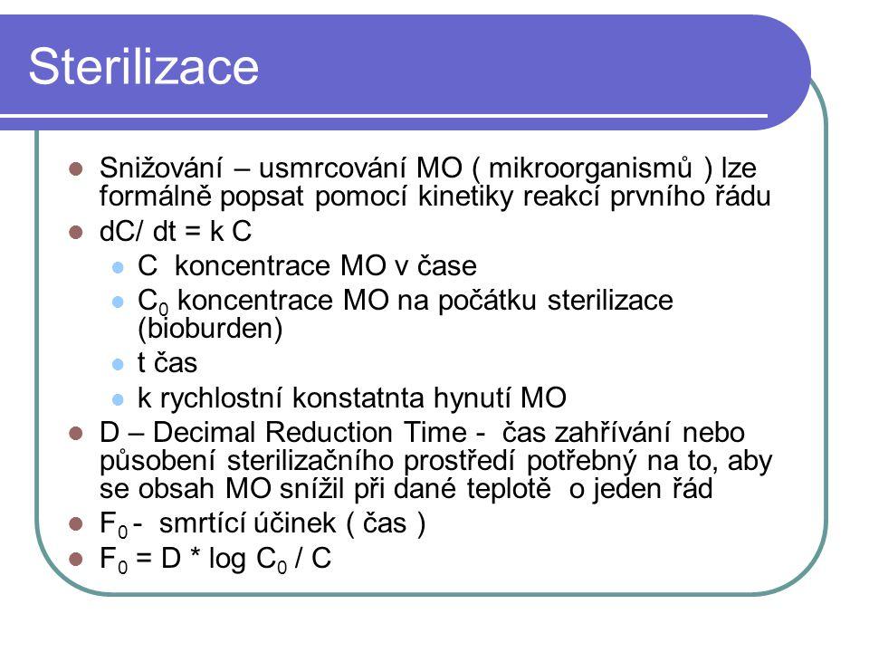 Sterilizace Snižování – usmrcování MO ( mikroorganismů ) lze formálně popsat pomocí kinetiky reakcí prvního řádu dC/ dt = k C C koncentrace MO v čase C 0 koncentrace MO na počátku sterilizace (bioburden) t čas k rychlostní konstatnta hynutí MO D – Decimal Reduction Time - čas zahřívání nebo působení sterilizačního prostředí potřebný na to, aby se obsah MO snížil při dané teplotě o jeden řád F 0 - smrtící účinek ( čas ) F 0 = D * log C 0 / C