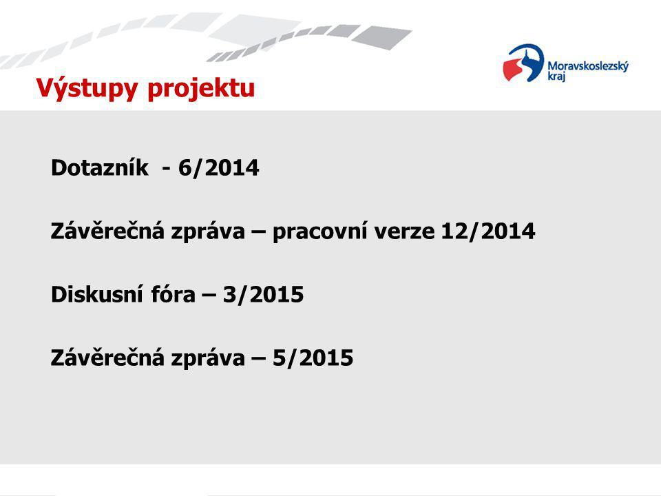 Výstupy projektu Dotazník - 6/2014 Závěrečná zpráva – pracovní verze 12/2014 Diskusní fóra – 3/2015 Závěrečná zpráva – 5/2015