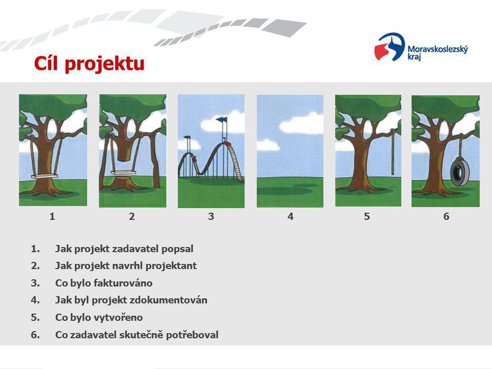 Cíl projektu 1.Jak projekt zadavatel popsal 2.Jak projekt navrhl projektant 3.Co bylo fakturováno 4.Jak byl projekt zdokumentován 5.Co bylo vytvořeno