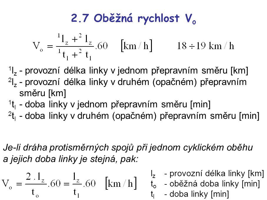 2.7 Oběžná rychlost V o 1 l z - provozní délka linky v jednom přepravním směru [km] 2 l z - provozní délka linky v druhém (opačném) přepravním směru [km] 1 t l - doba linky v jednom přepravním směru [min] 2 t l - doba linky v druhém (opačném) přepravním směru [min] l z - provozní délka linky [km] t o - oběžná doba linky [min] t l - doba linky [min] Je-li dráha protisměrných spojů při jednom cyklickém oběhu a jejich doba linky je stejná, pak: