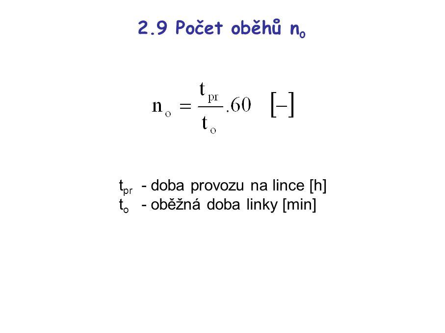 2.9 Počet oběhů n o t pr - doba provozu na lince [h] t o - oběžná doba linky [min]