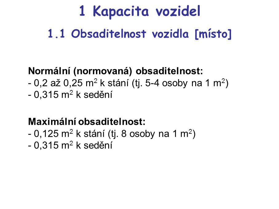 1 Kapacita vozidel 1.1 Obsaditelnost vozidla [místo] Normální (normovaná) obsaditelnost: - 0,2 až 0,25 m 2 k stání (tj.