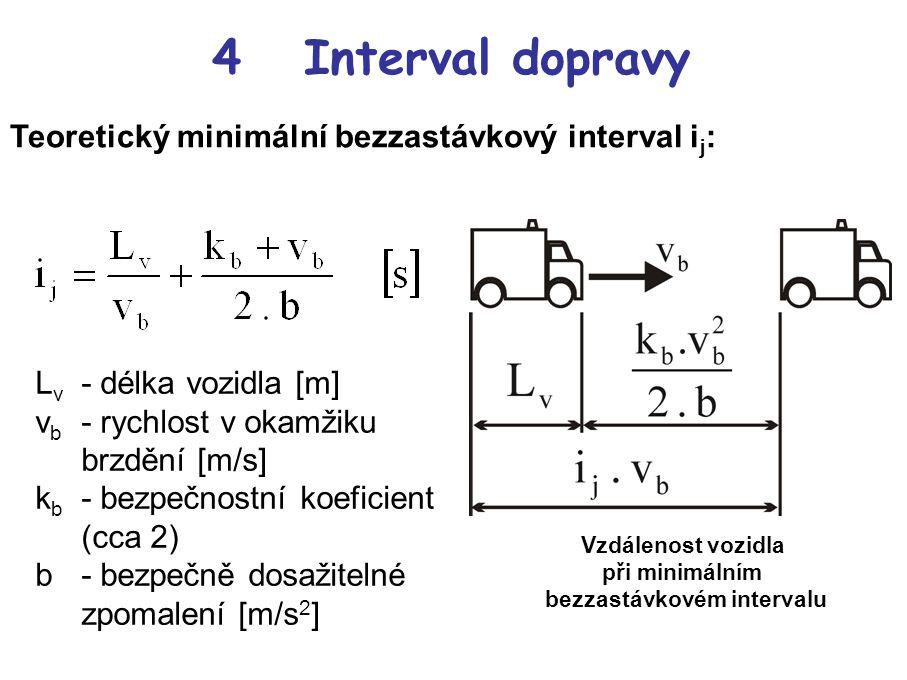 4 Interval dopravy Teoretický minimální bezzastávkový interval i j : L v - délka vozidla [m] v b - rychlost v okamžiku brzdění [m/s] k b - bezpečnostní koeficient (cca 2) b- bezpečně dosažitelné zpomalení [m/s 2 ] Vzdálenost vozidla při minimálním bezzastávkovém intervalu