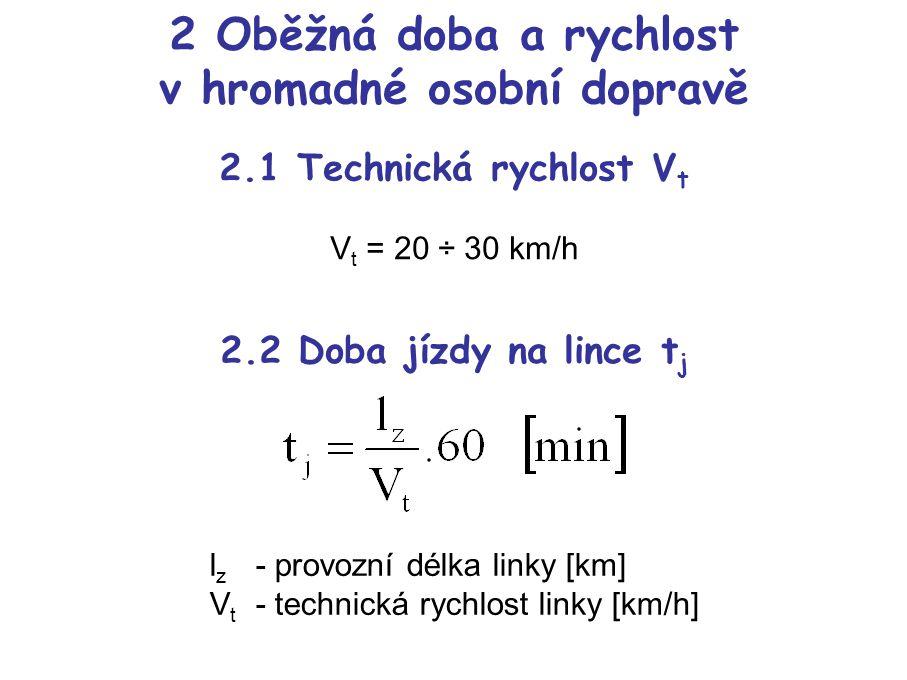 2 Oběžná doba a rychlost v hromadné osobní dopravě 2.1 Technická rychlost V t V t = 20 ÷ 30 km/h 2.2 Doba jízdy na lince t j l z - provozní délka linky [km] V t - technická rychlost linky [km/h]