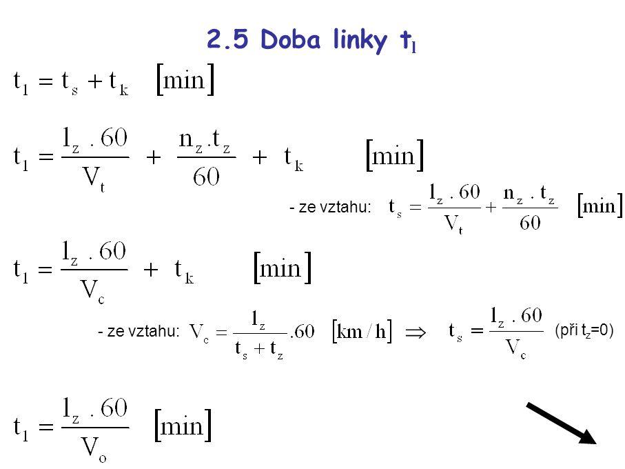 2.5 Doba linky t l - ze vztahu:  (při t z =0)