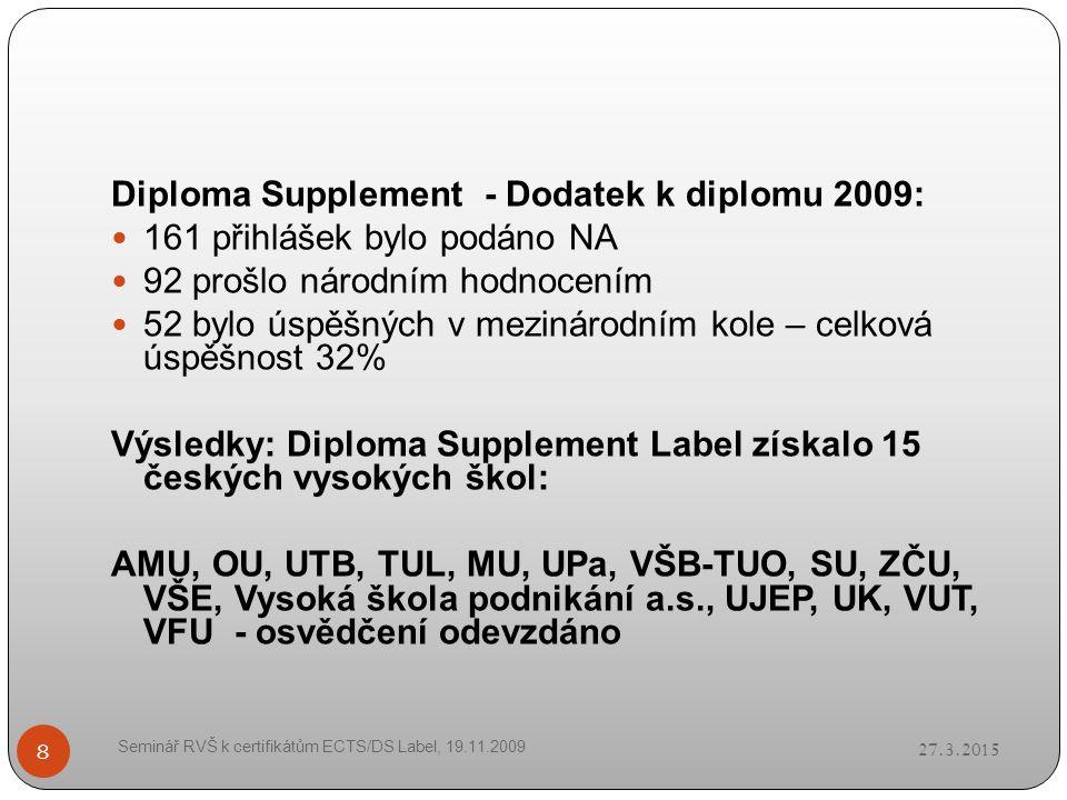 27.3.2015 Seminář RVŠ k certifikátům ECTS/DS Label, 19.11.2009 8 Diploma Supplement - Dodatek k diplomu 2009: 161 přihlášek bylo podáno NA 92 prošlo národním hodnocením 52 bylo úspěšných v mezinárodním kole – celková úspěšnost 32% Výsledky: Diploma Supplement Label získalo 15 českých vysokých škol: AMU, OU, UTB, TUL, MU, UPa, VŠB-TUO, SU, ZČU, VŠE, Vysoká škola podnikání a.s., UJEP, UK, VUT, VFU - osvědčení odevzdáno