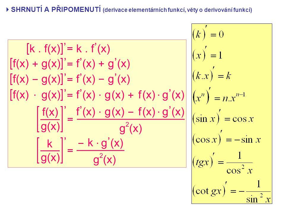  SHRNUTÍ A PŘIPOMENUTÍ (derivace elementárních funkcí, věty o derivování funkcí)