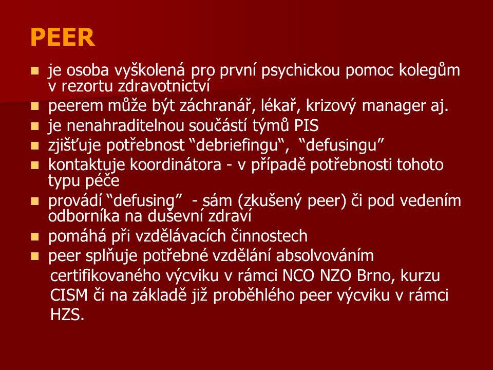 PEER je osoba vyškolená pro první psychickou pomoc kolegům v rezortu zdravotnictví peerem může být záchranář, lékař, krizový manager aj.