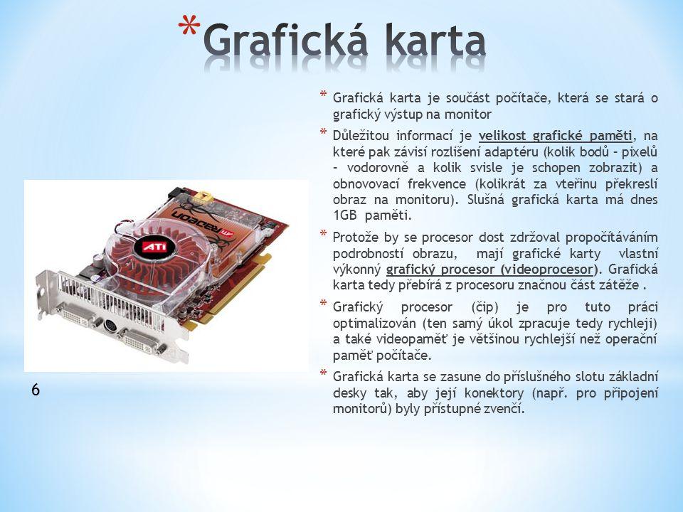 * Grafická karta je součást počítače, která se stará o grafický výstup na monitor * Důležitou informací je velikost grafické paměti, na které pak závi