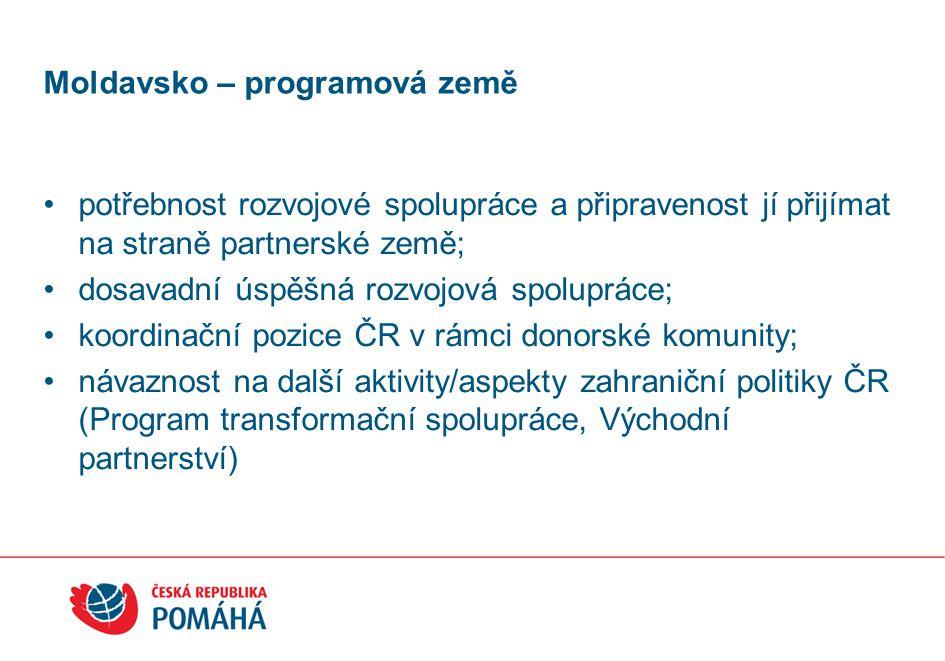 Moldavsko – programová země potřebnost rozvojové spolupráce a připravenost jí přijímat na straně partnerské země; dosavadní úspěšná rozvojová spolupráce; koordinační pozice ČR v rámci donorské komunity; návaznost na další aktivity/aspekty zahraniční politiky ČR (Program transformační spolupráce, Východní partnerství)