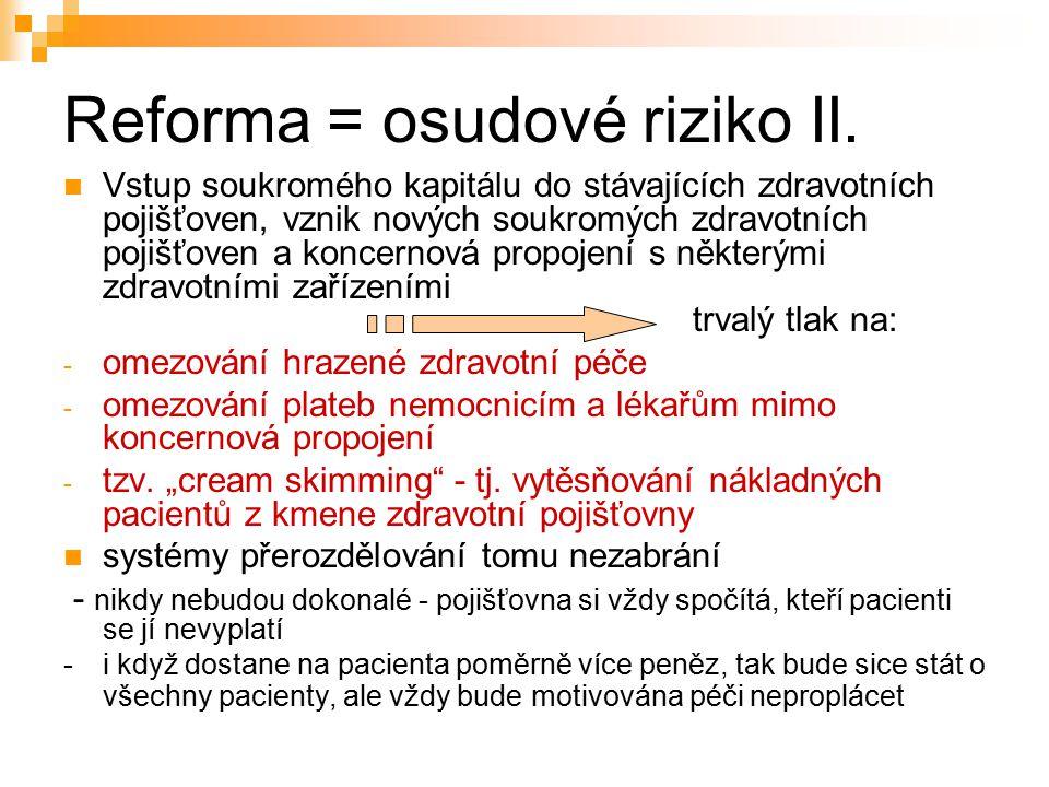 Reforma = osudové riziko II.