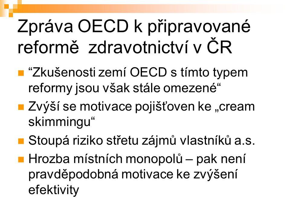 """Zpráva OECD k připravované reformě zdravotnictví v ČR Zkušenosti zemí OECD s tímto typem reformy jsou však stále omezené Zvýší se motivace pojišťoven ke """"cream skimmingu Stoupá riziko střetu zájmů vlastníků a.s."""