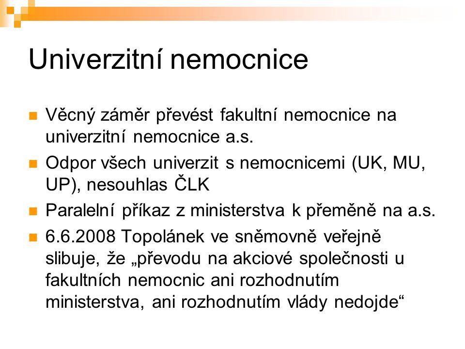 Univerzitní nemocnice Věcný záměr převést fakultní nemocnice na univerzitní nemocnice a.s.