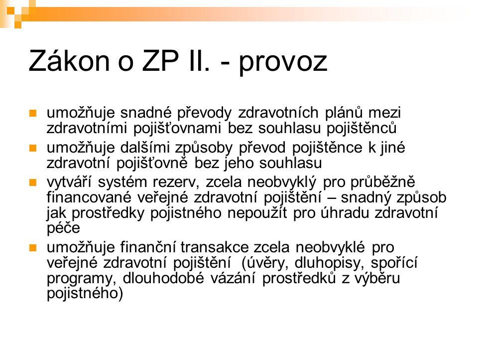 Zákon o ZP II.