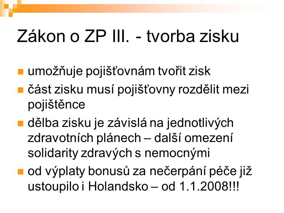 Zákon o ZP III.
