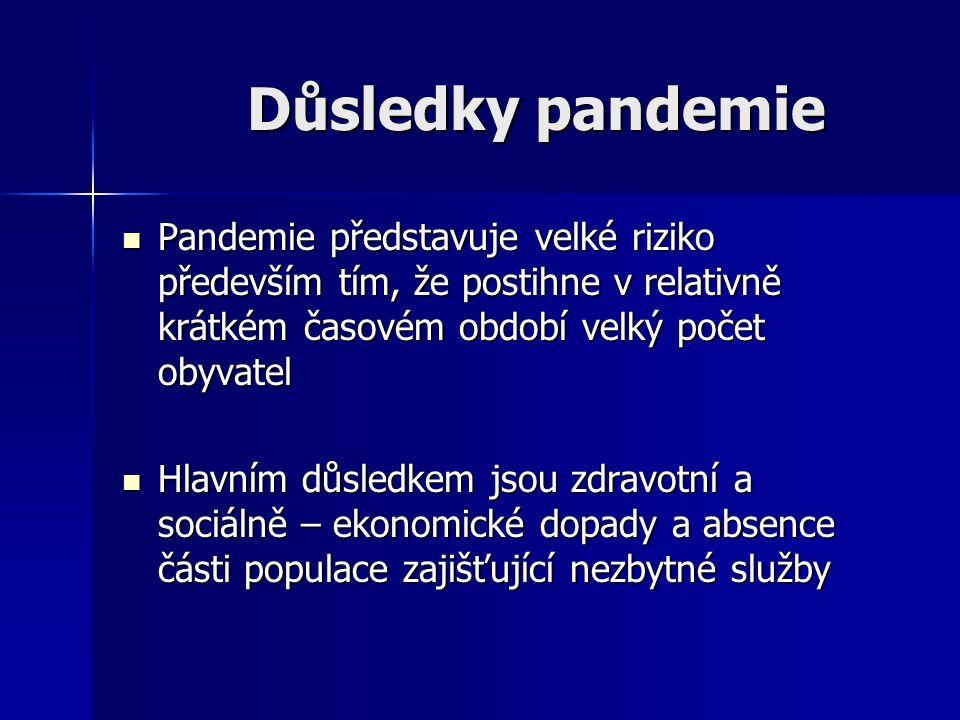 Důsledky pandemie Pandemie představuje velké riziko především tím, že postihne v relativně krátkém časovém období velký počet obyvatel Pandemie předst