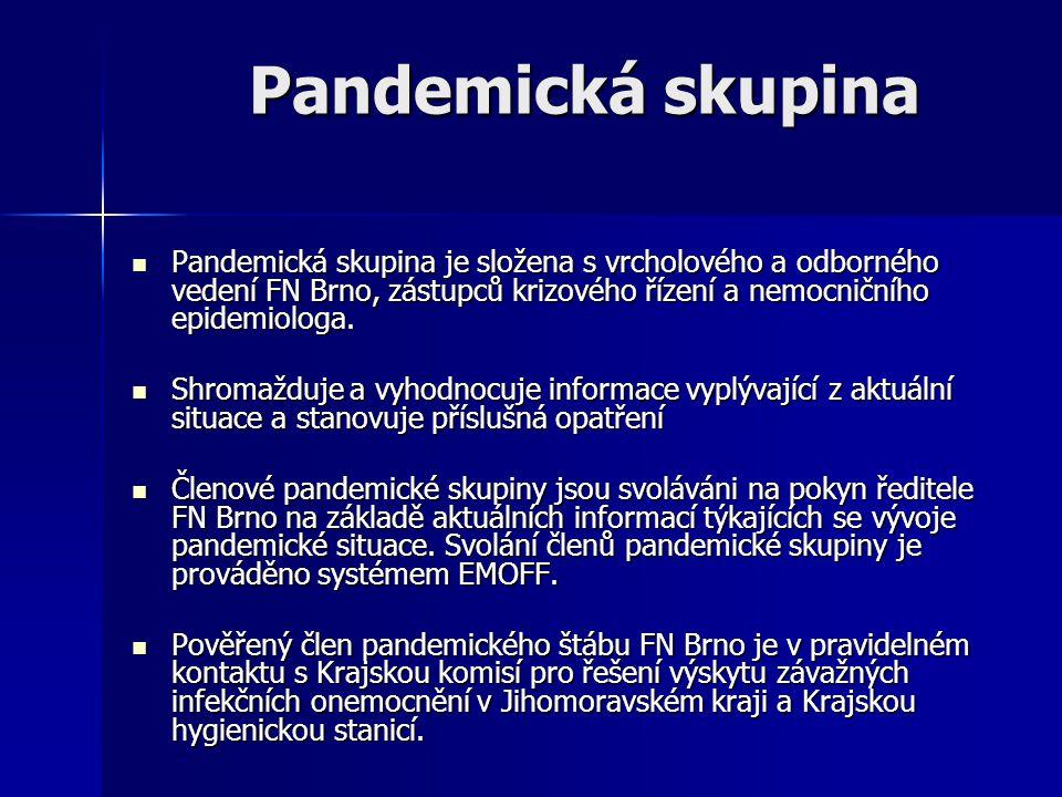 Pandemická skupina Pandemická skupina je složena s vrcholového a odborného vedení FN Brno, zástupců krizového řízení a nemocničního epidemiologa. Pand