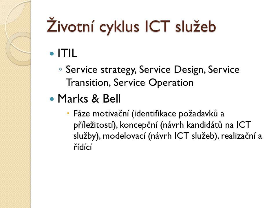 Životní cyklus ICT služeb ITIL ◦ Service strategy, Service Design, Service Transition, Service Operation Marks & Bell  Fáze motivační (identifikace požadavků a příležitostí), koncepční (návrh kandidátů na ICT služby), modelovací (návrh ICT služeb), realizační a řídící
