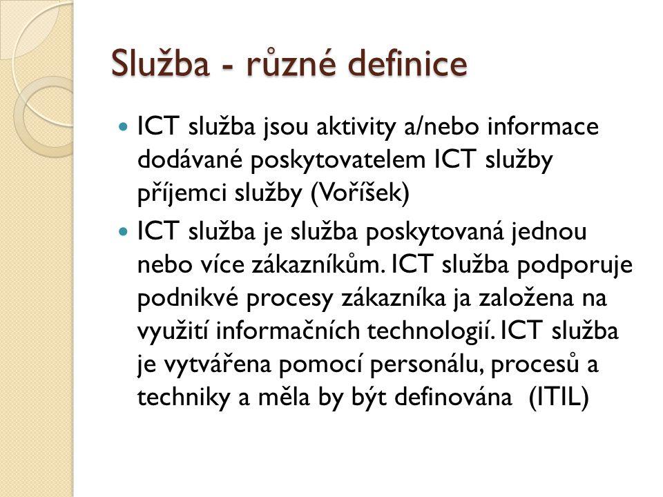 Služba - různé definice ICT služba jsou aktivity a/nebo informace dodávané poskytovatelem ICT služby příjemci služby (Voříšek) ICT služba je služba poskytovaná jednou nebo více zákazníkům.