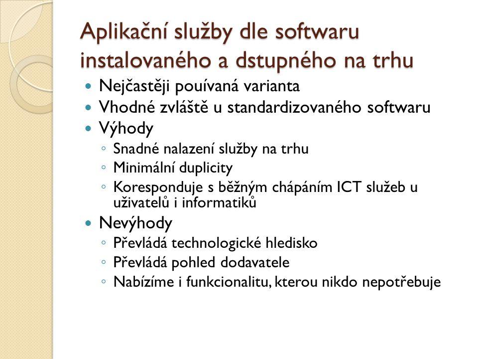 Aplikační služby dle softwaru instalovaného a dstupného na trhu Nejčastěji pouívaná varianta Vhodné zvláště u standardizovaného softwaru Výhody ◦ Snadné nalazení služby na trhu ◦ Minimální duplicity ◦ Koresponduje s běžným chápáním ICT služeb u uživatelů i informatiků Nevýhody ◦ Převládá technologické hledisko ◦ Převládá pohled dodavatele ◦ Nabízíme i funkcionalitu, kterou nikdo nepotřebuje