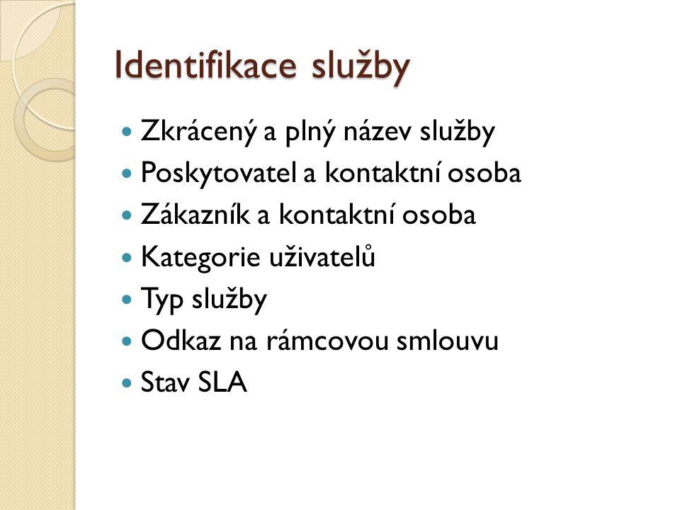 Identifikace služby Zkrácený a plný název služby Poskytovatel a kontaktní osoba Zákazník a kontaktní osoba Kategorie uživatelů Typ služby Odkaz na rámcovou smlouvu Stav SLA