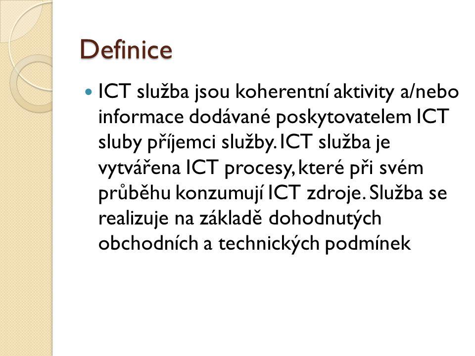 Kvalita služby Aktuálnost dat ◦ Informační – poskytovatel ◦ Aplikační – zákazník  Poskytovatel má zodpovědnost za algoritmy a rychlost zpracování ◦ Doba poskytování služby  Např 24 x 7  Plánované odstávky ◦ Dostupnost služby  99,999 %  Postatný je i interval měření  Výrazně zvyšuje náklady  Sériově zapojená zařízení ◦ Doba odezvy ◦ Reakč í doba ◦ Doba řešení ◦ Bezpečnost služby  Zálohování  Archivace  Náhradní zpracování  Autorizace uživatelů Čtyř úrovně kvality ◦ Standardní ◦ Podstandardní ◦ Kritická ◦ Nadstandardní Každému parametru by měl odpovídat incident registrovaný servisním střediskem