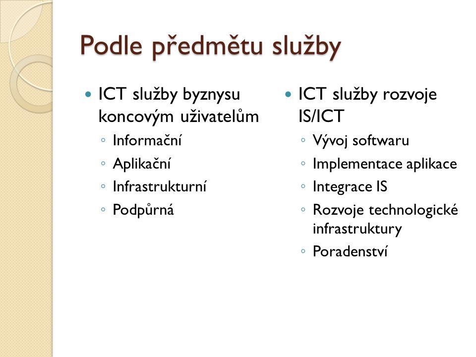 Podle předmětu služby ICT služby byznysu koncovým uživatelům ◦ Informační ◦ Aplikační ◦ Infrastrukturní ◦ Podpůrná ICT služby rozvoje IS/ICT ◦ Vývoj softwaru ◦ Implementace aplikace ◦ Integrace IS ◦ Rozvoje technologické infrastruktury ◦ Poradenství