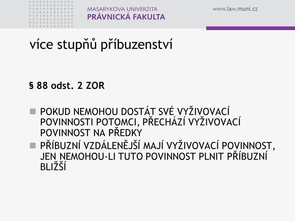 www.law.muni.cz více stupňů příbuzenství § 88 odst. 2 ZOR POKUD NEMOHOU DOSTÁT SVÉ VYŽIVOVACÍ POVINNOSTI POTOMCI, PŘECHÁZÍ VYŽIVOVACÍ POVINNOST NA PŘE