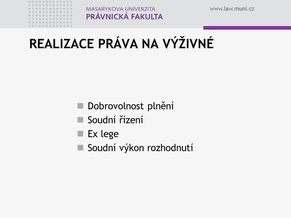 www.law.muni.cz REALIZACE PRÁVA NA VÝŽIVNÉ Dobrovolnost plnění Soudní řízení Ex lege Soudní výkon rozhodnutí