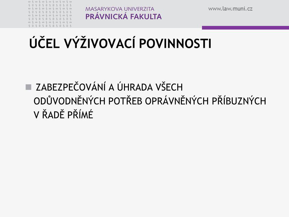 www.law.muni.cz ÚČEL VÝŽIVOVACÍ POVINNOSTI ZABEZPEČOVÁNÍ A ÚHRADA VŠECH ODŮVODNĚNÝCH POTŘEB OPRÁVNĚNÝCH PŘÍBUZNÝCH V ŘADĚ PŘÍMÉ