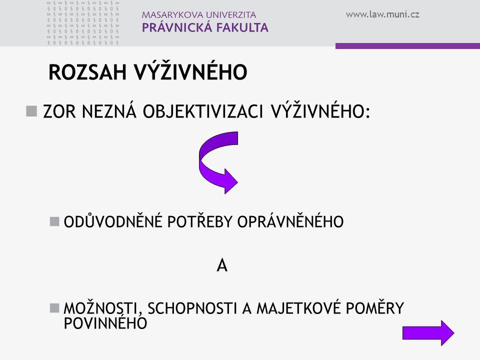 www.law.muni.cz ROZSAH VÝŽIVNÉHO ZOR NEZNÁ OBJEKTIVIZACI VÝŽIVNÉHO: ODŮVODNĚNÉ POTŘEBY OPRÁVNĚNÉHO A MOŽNOSTI, SCHOPNOSTI A MAJETKOVÉ POMĚRY POVINNÉHO