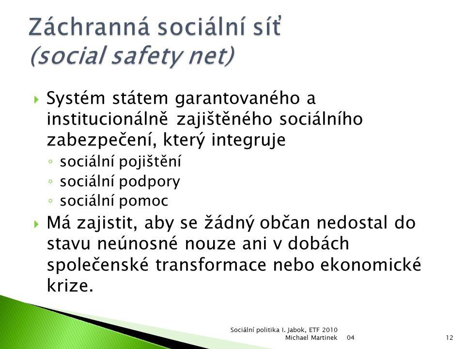  Systém státem garantovaného a institucionálně zajištěného sociálního zabezpečení, který integruje ◦ sociální pojištění ◦ sociální podpory ◦ sociální pomoc  Má zajistit, aby se žádný občan nedostal do stavu neúnosné nouze ani v dobách společenské transformace nebo ekonomické krize.